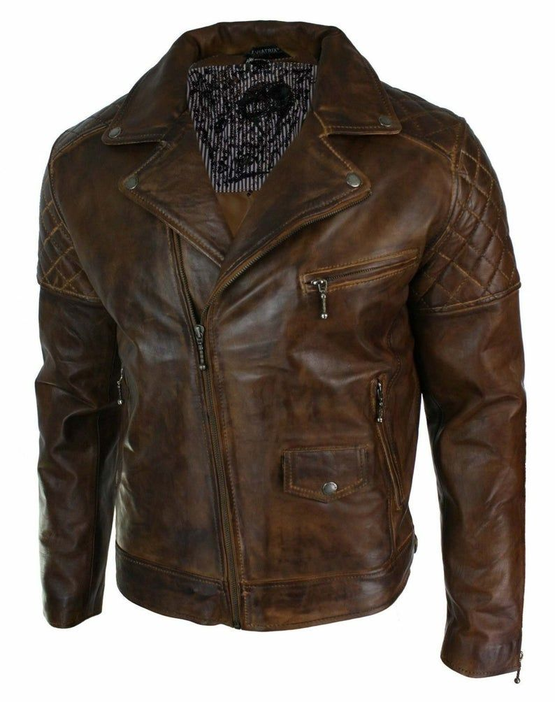 New Mens Real Leather Jacket Biker Motorcycle Vintage Distressed Brown Antique