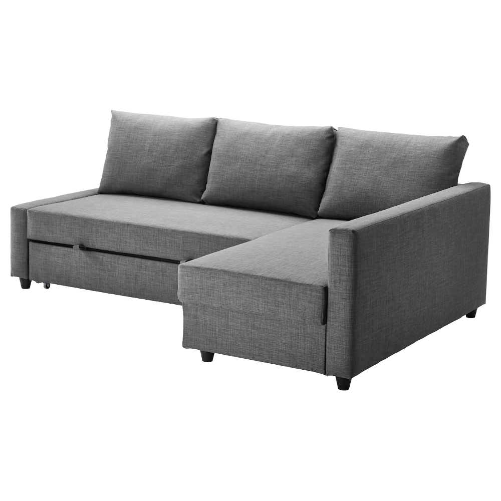 Corner sofa-bed with storage FRIHETEN Skiftebo dark grey ...
