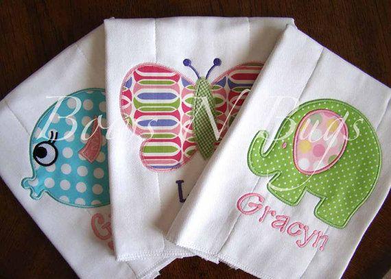 Burp Cloths for Girls-Set of 3