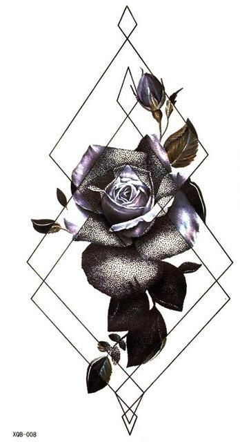 Rosa Geometric Purple Floral Rose Temporary Tattoo