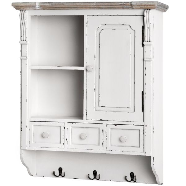 White Distressed Wall Cabinet With Hooks Perfect For The Hallway Or Bathroom 3 Drawers Are Great Storing Away Odd And Ends Shelf Area To