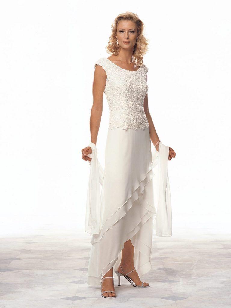 Sheath Column Scoop High Low Hem Chiffon Mother Of The Bride Dress