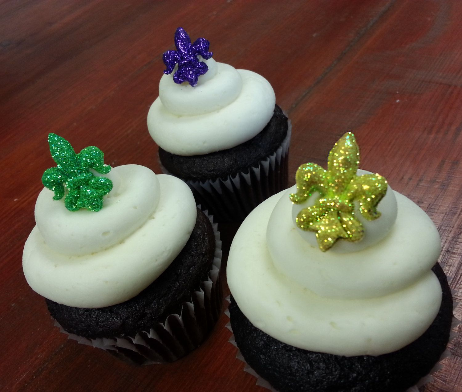 Mardi Gras Fleur De Lis Edible Cupcake and Cake Acents by SweetTalkCakes on Etsy