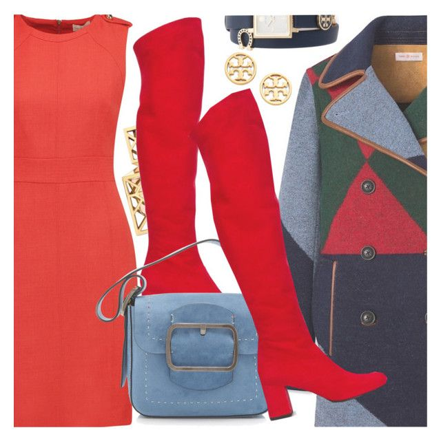 """Winter Style Challenge #2: Red Boots(contest entry)"" by shoaleh-nia ❤ liked on Polyvore featuring Tory Burch and Yves Saint Laurent"