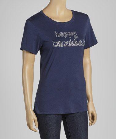 Take a look at this Navy 'Happy Hanukkah' Tee - Women & Plus by Girl ExtraOrdinaire on #zulily today!