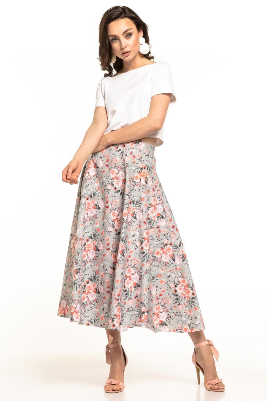 Dluga Spodnica W Kwiaty Te313 Fashion Skirts Midi Skirt