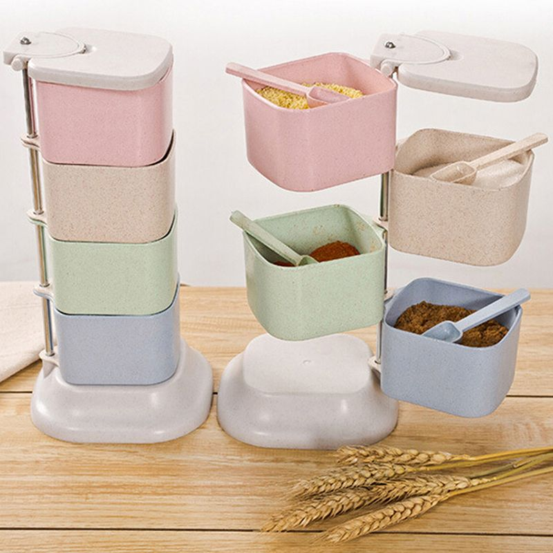 Rotatable Kitchen Seasoning Box Spice Jar Condiment Sugar Salt Storage Container