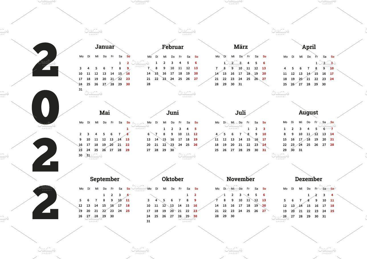 Waterproof Paper Calendar 2022.2022 Year Simple Calendar On German Calendar Simple Graphic Illustration