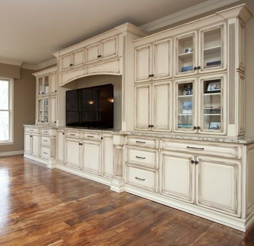 Entertainment Center Using Kitchen Cabinets