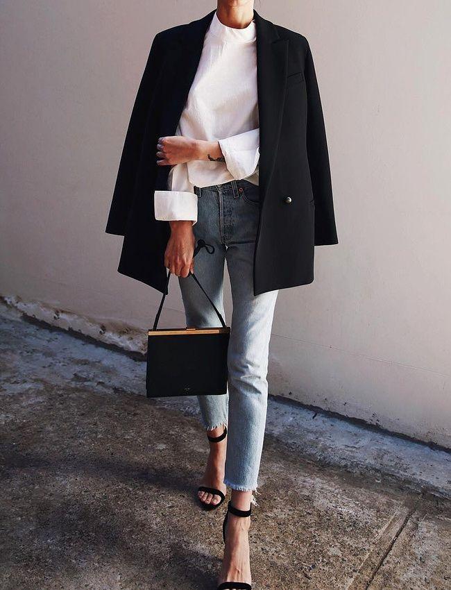 Frayed jeans, statement white shirt, classic blazer