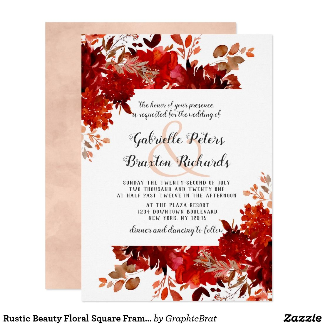 Rustic Beauty Floral Square Framed Wedding Invitation | { Wedding ...