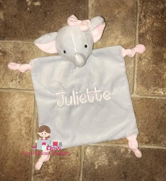 Elephant Lovey-Security Blanket-Lovie-Rattle-Newborn-Birth-Baby-Girl-Shower-Gift-Personalized-Monogr #securityblankets