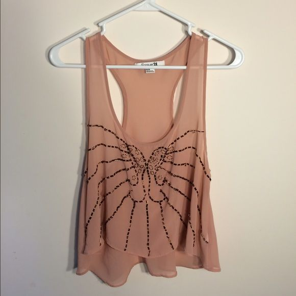 Sheer Pink / Beige Crop Top Perfect for those summer night parties! wear a bandeau and some jean shorts with your favorite pair of shoes and you're all set!! get yours today! #pink #forever21 #forever21top #forever21croptop #embellished #sheer #sheertop Forever 21 Tops Crop Tops