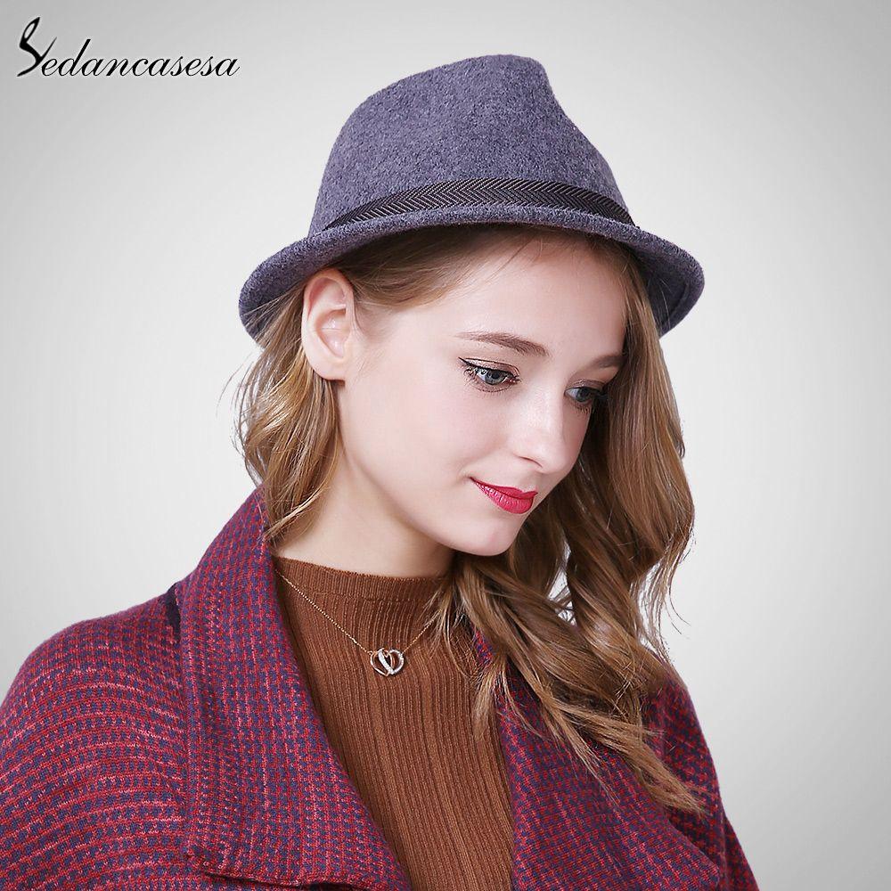Autumn Winter Feamle Fedora Hats Europe woolen with women British Trilby Hat  Fashion Wool Felt Hat FM046018 179d1d5468d4