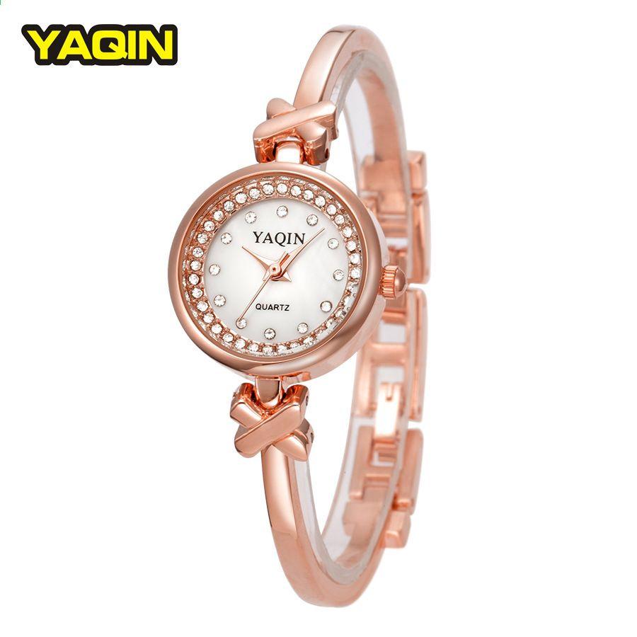 YAQIN marka kobiety bransoletka ze stali nierdzewnej firmy mody casual  zegarek kwarcowy wodoodporny panie 3a8e96f810