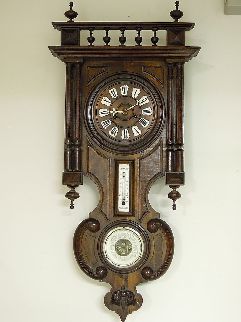 Antique German Wall Clock with Barometer Thermometer Ca 1890