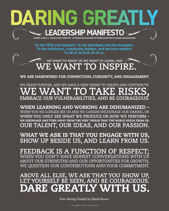 Dr. Brené Brown's Daring Greatly Leadership Manifesto poster