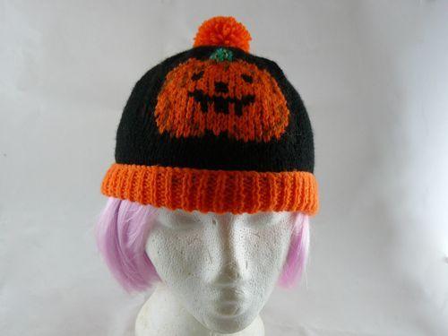 Childs Pumpkin Bobble Hat Free Novelty Knitting Pattern Free