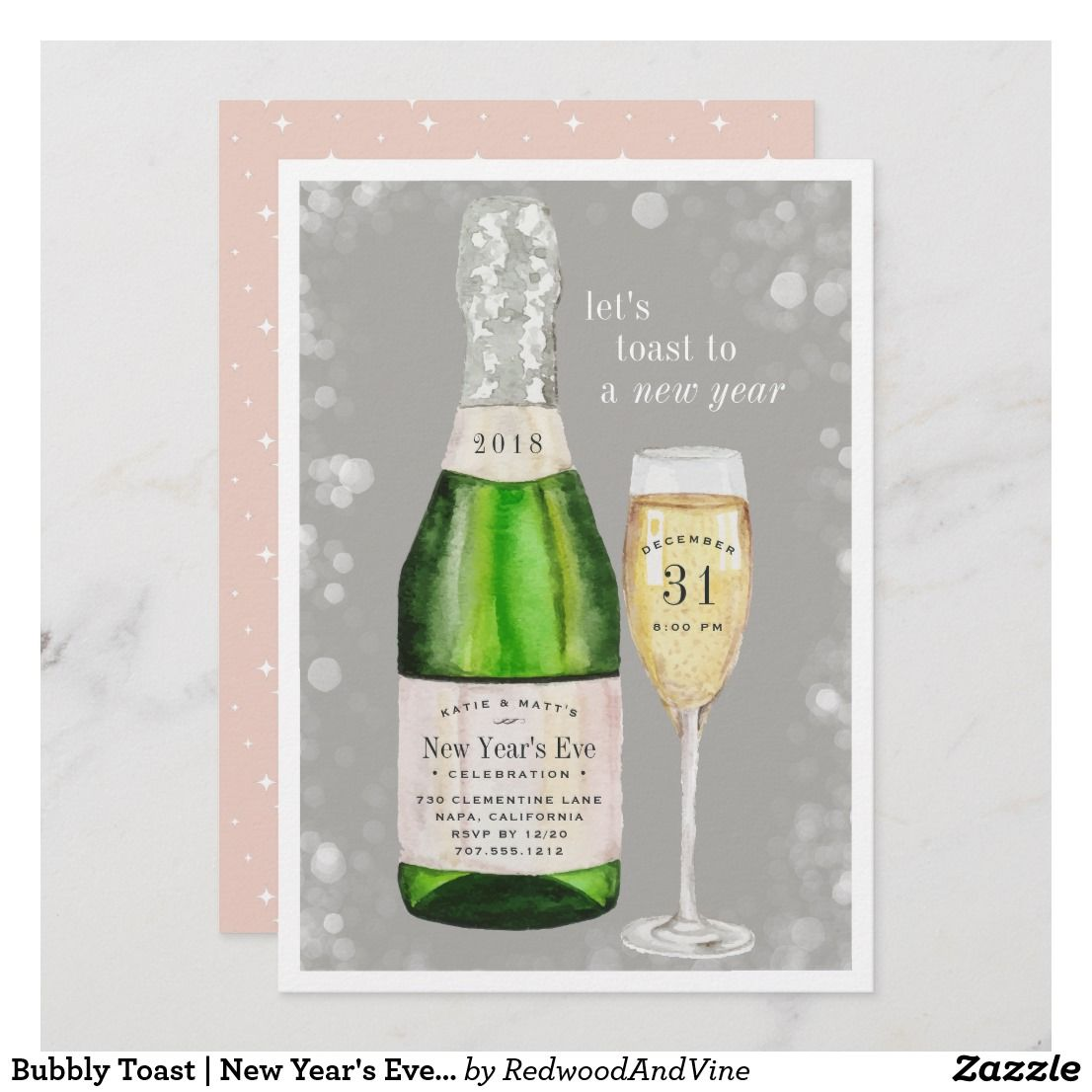 bubbly toast new years eve party invitation newyear party champagne houseparty template