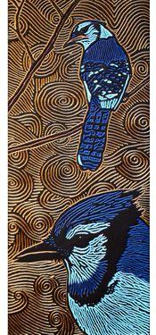 LISA BRAWN WOODCUT Blue Jay