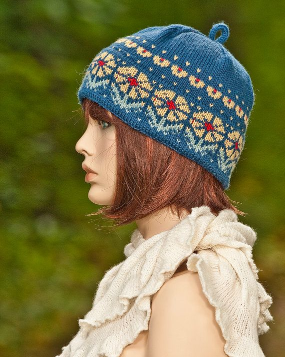 Knitted fair isle hat, cap, jacquard, indigo, red, yellow colors ...