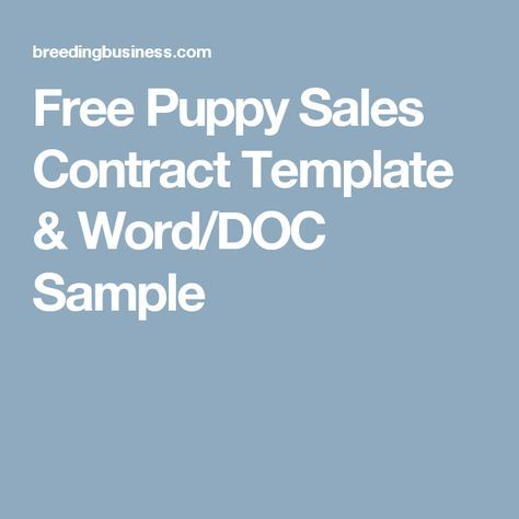Free Puppy Sales Contract Template  Word/DOC Sample Dog Business