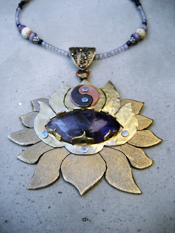 Crown Chakra Necklace, 6th Chakra, Amethyst, Lotus Flower, Spiritual Symbol, Handmade, Metalsmithed, Yoga Jewelry. $260.00, via Etsy.