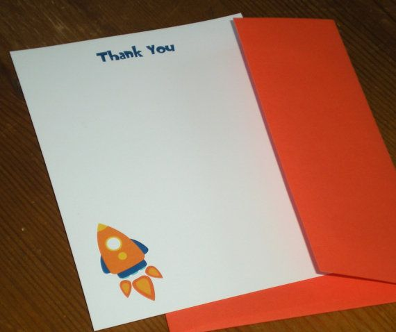 Rocket ship  Space ship  Thank you notes  by ClaudiaCurtiDesigns, $15.00