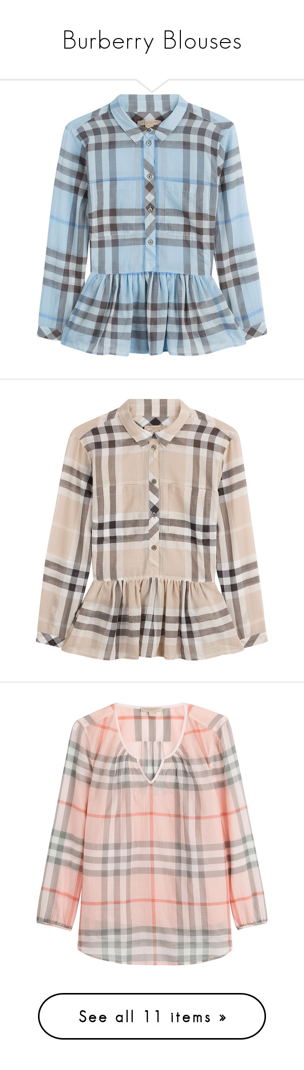 """Burberry Blouses"" by chathurika-gamage ❤ liked on Polyvore featuring tops, blouses, blue, burberry, blue peplum top, blue blouse, slimming tops, button front tops, multicolor and button front blouse"