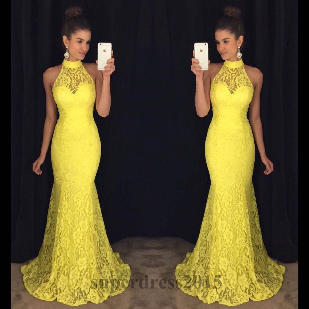 Elegant mermaid long lace prom dresses formal hatler evening party