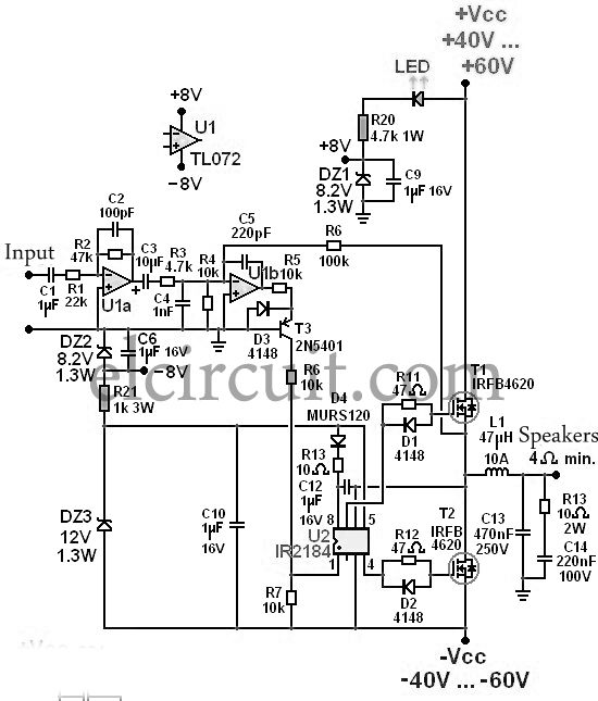 300w power amplifier circuit