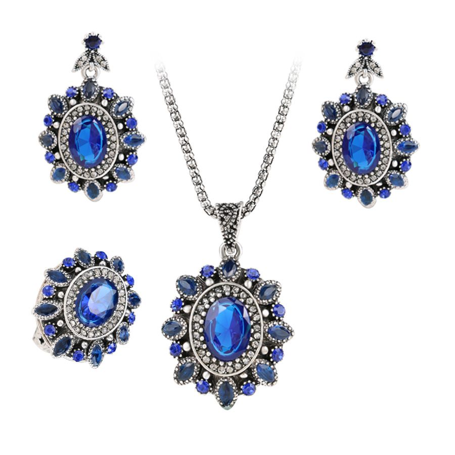newest blue crystal pcs silver color women flower jewelry set
