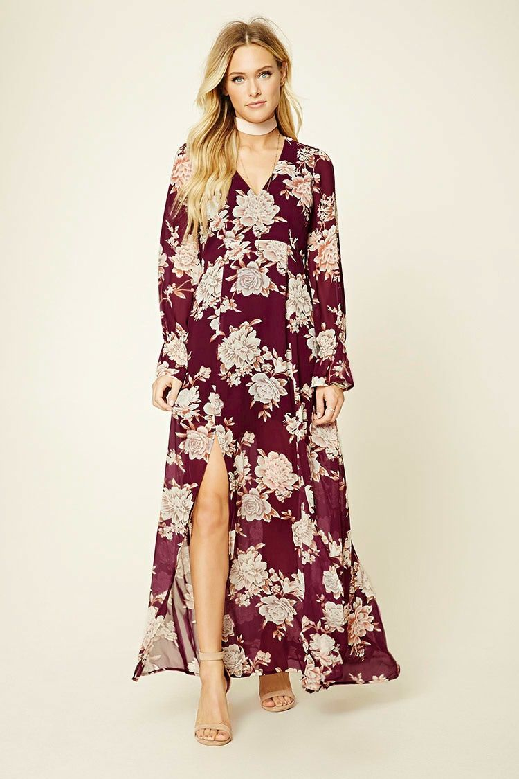 b049e845ea Forever 21 Contemporary - A woven maxi dress featuring a floral print, M-slit  skirt, V-neckline, back cutout, a concealed back zipper, and long sleeves.