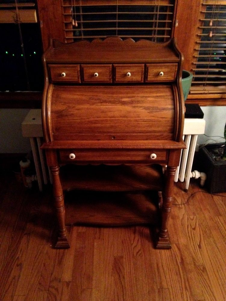 National Mt Airy Antique Secretary S Roll Top Desk With Interior Light Interior Lighting Roll Top Desk Interior