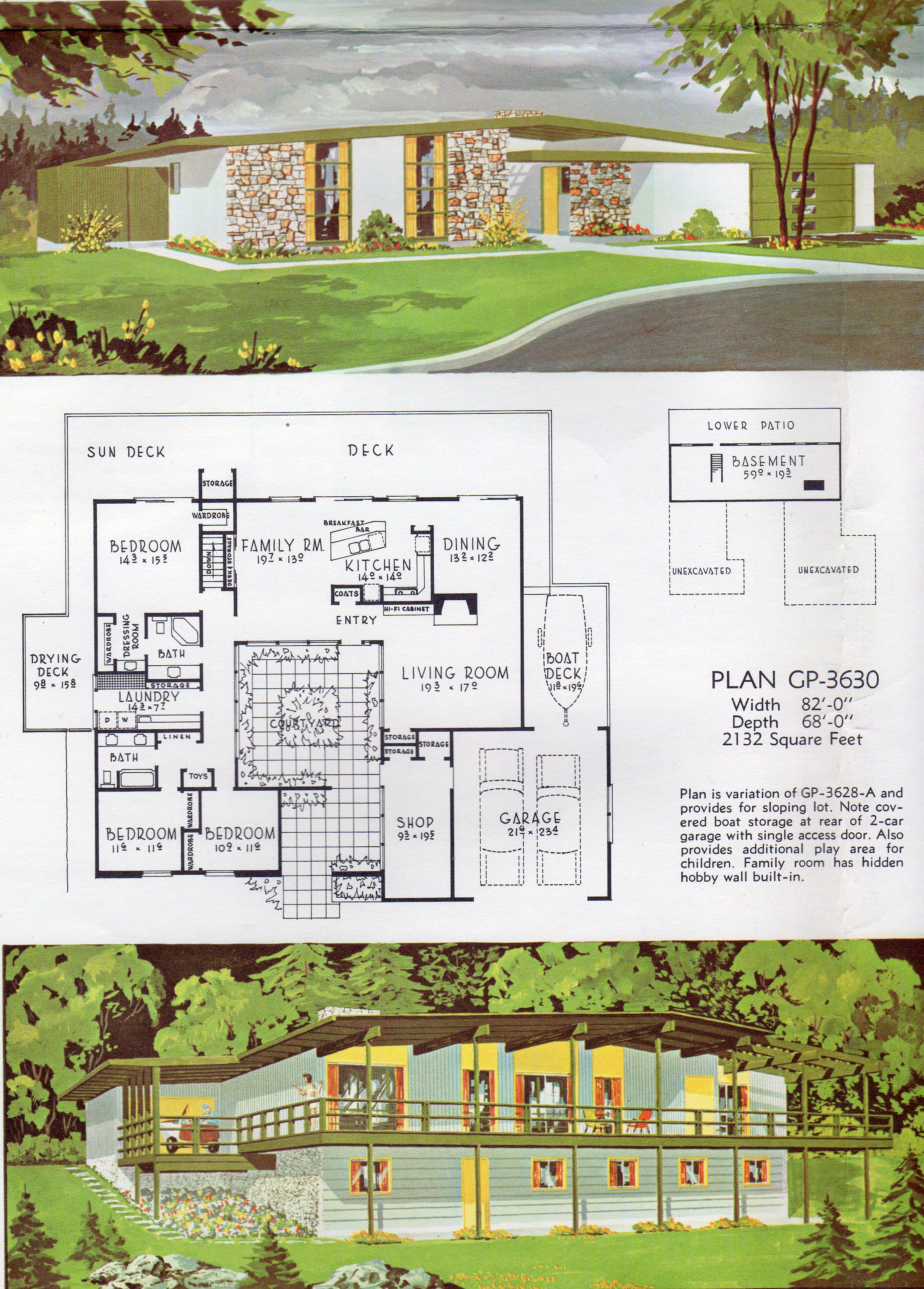 Mid Century Modern house, architectural plans | Plans : Renderings ...