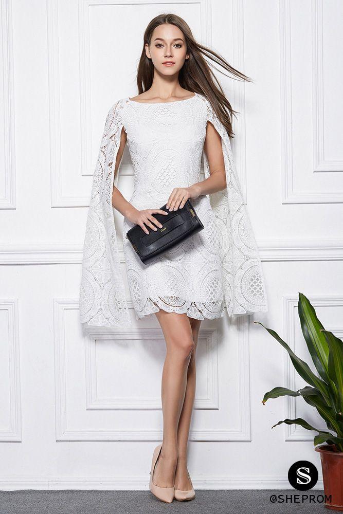 White Lace Cape Short Dress White Lace Dress Short Short Lace Dress Short Dresses