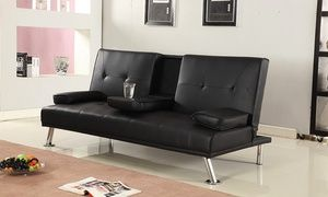 Cinema Style Futon Sofabed With Drinks Table Sofa Bed Faux Leather In Black Garden Rattan Furniture