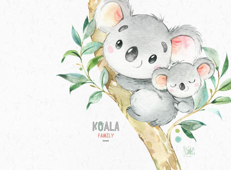 Familia Koala. Pequeños animales imágenes prediseñadas acuarela, Australia, osos koala, acuarela, flores, babyshower, diy, niños, bebé, guardería, amor