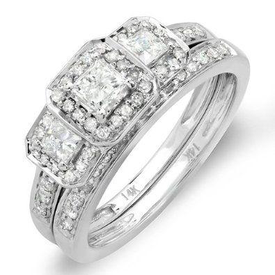 Amazon.com: 1.00 Carat (ctw) 14k White Gold Round & Princess Cut 3 Stone Diamond Ladies Engagement Ring Matching Wedding Band Set: Jewelry