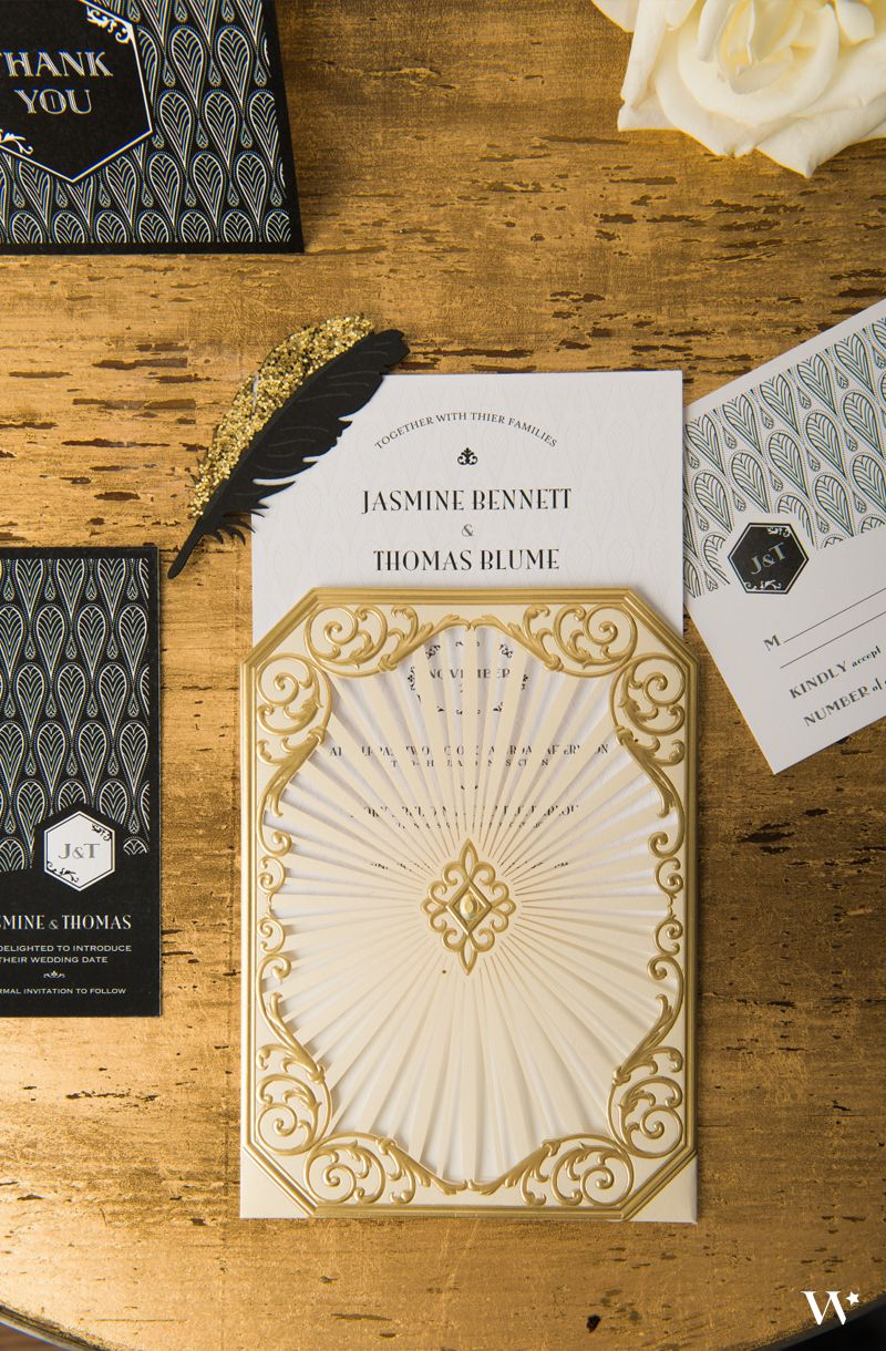 Art Deco Wedding Stationery Black And Gold Opulence Collection Be