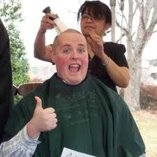 my brother, shaving his head for St. Baldrick's Cancer Foundation