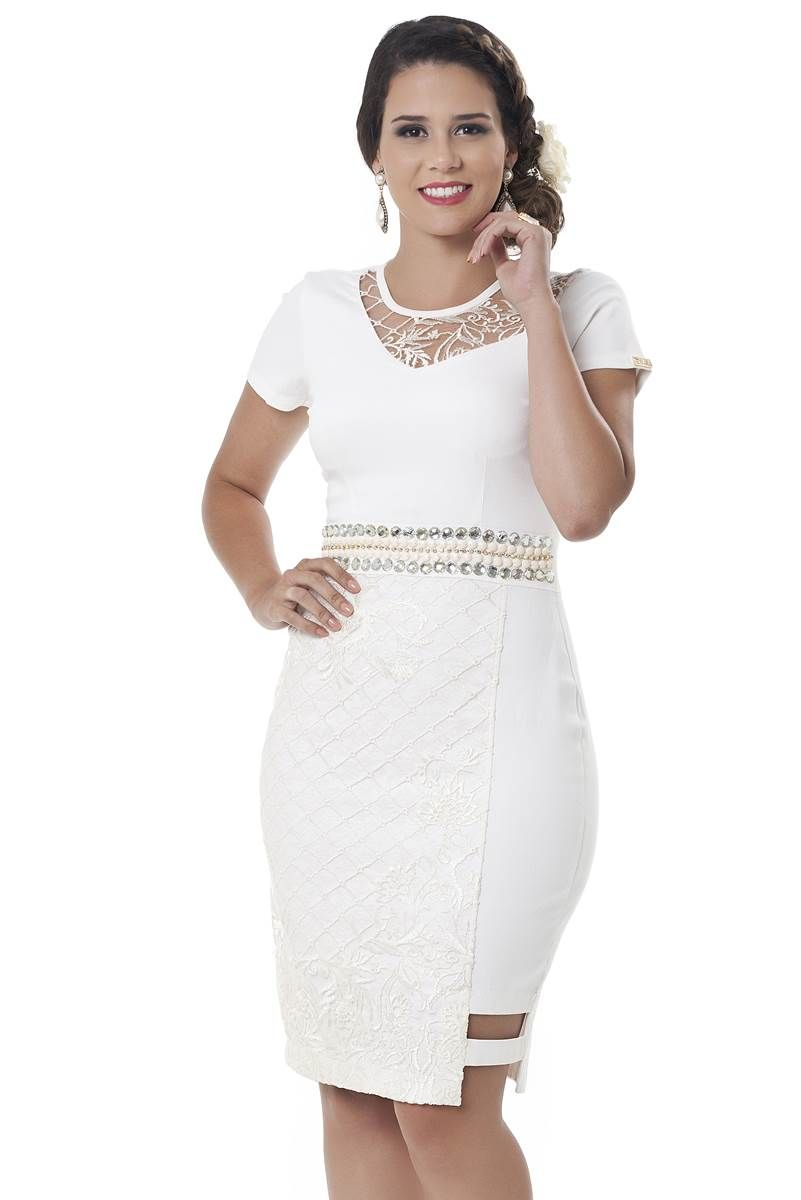 333c0f2f4 Vestido Bella Herança Clara 2253 | Vestidos | Fashion, Office ...