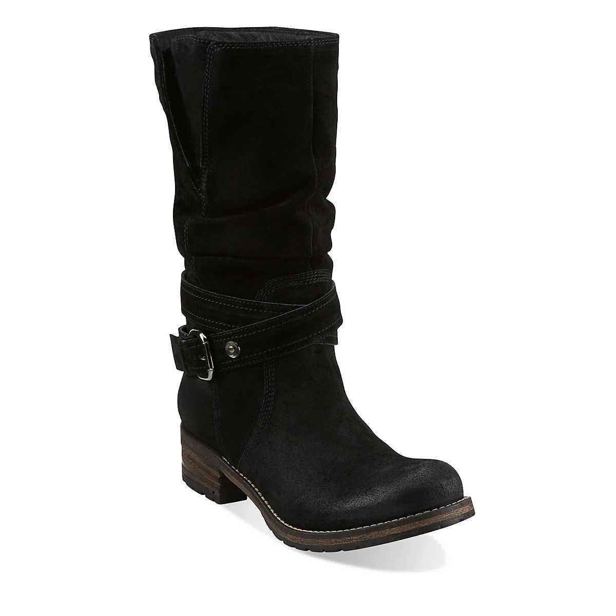 Majorca Villa in Black Suede - Womens Boots from Clarks