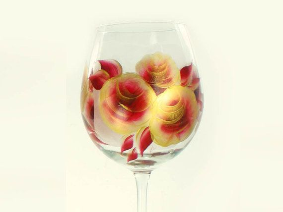 Hand-Painted Wine Glasses - Large, Deep Red and Gold Roses, Set of 4 - 50th Wedding Anniversary Gift Wedding Gift Idea