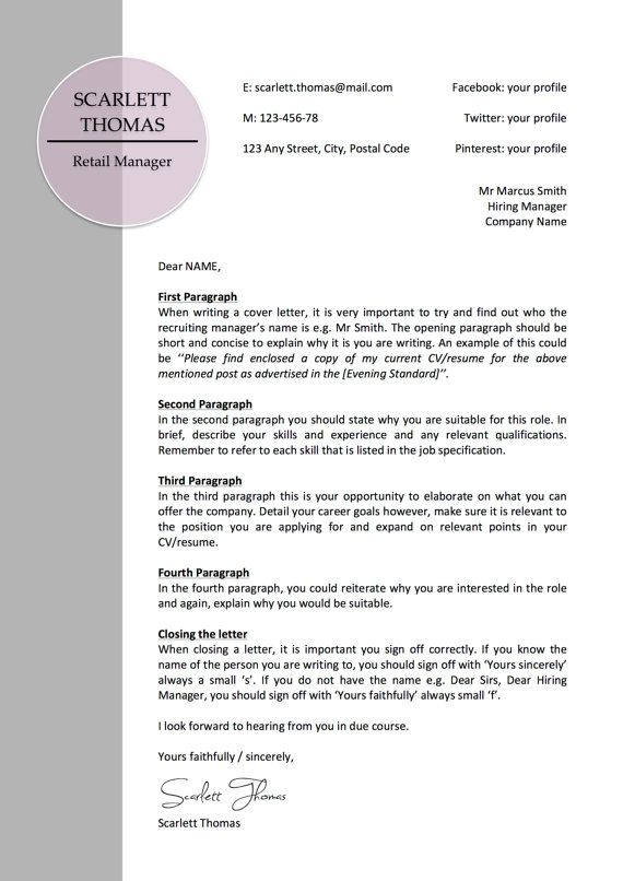 Professional Modern Letterhead Business Cover Letter Instant - how do you sign off a cover letter