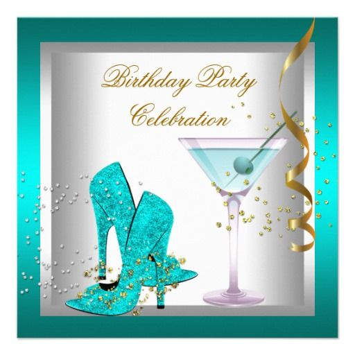 Teal Blue High Heel Shoes Gold Birthday Party Invitation