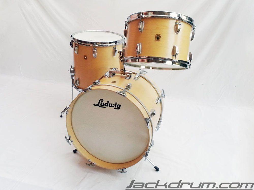 1968 vintage ludwig jazzette natural maple acero drum set on sale batteria. Black Bedroom Furniture Sets. Home Design Ideas