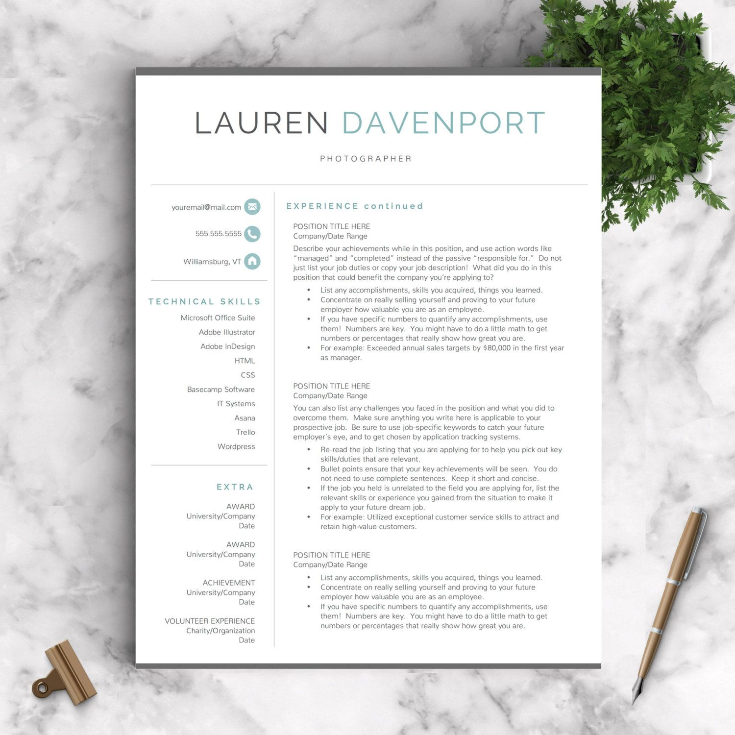 Modern resume template for word instant download resume template modern resume template for word instant download resume template us letter and a4 cv yelopaper Gallery