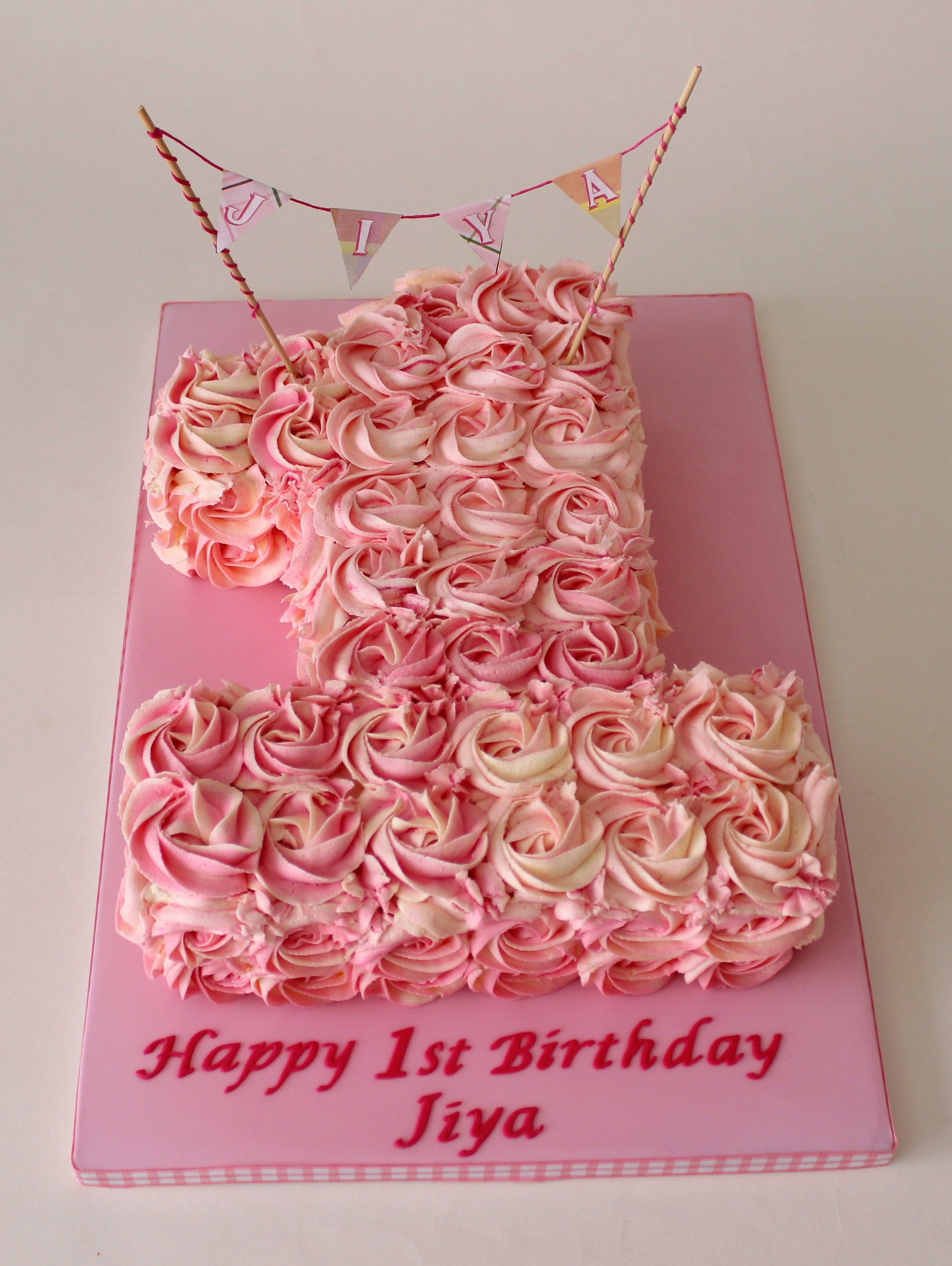 Rose Swirl Number 1 Cake