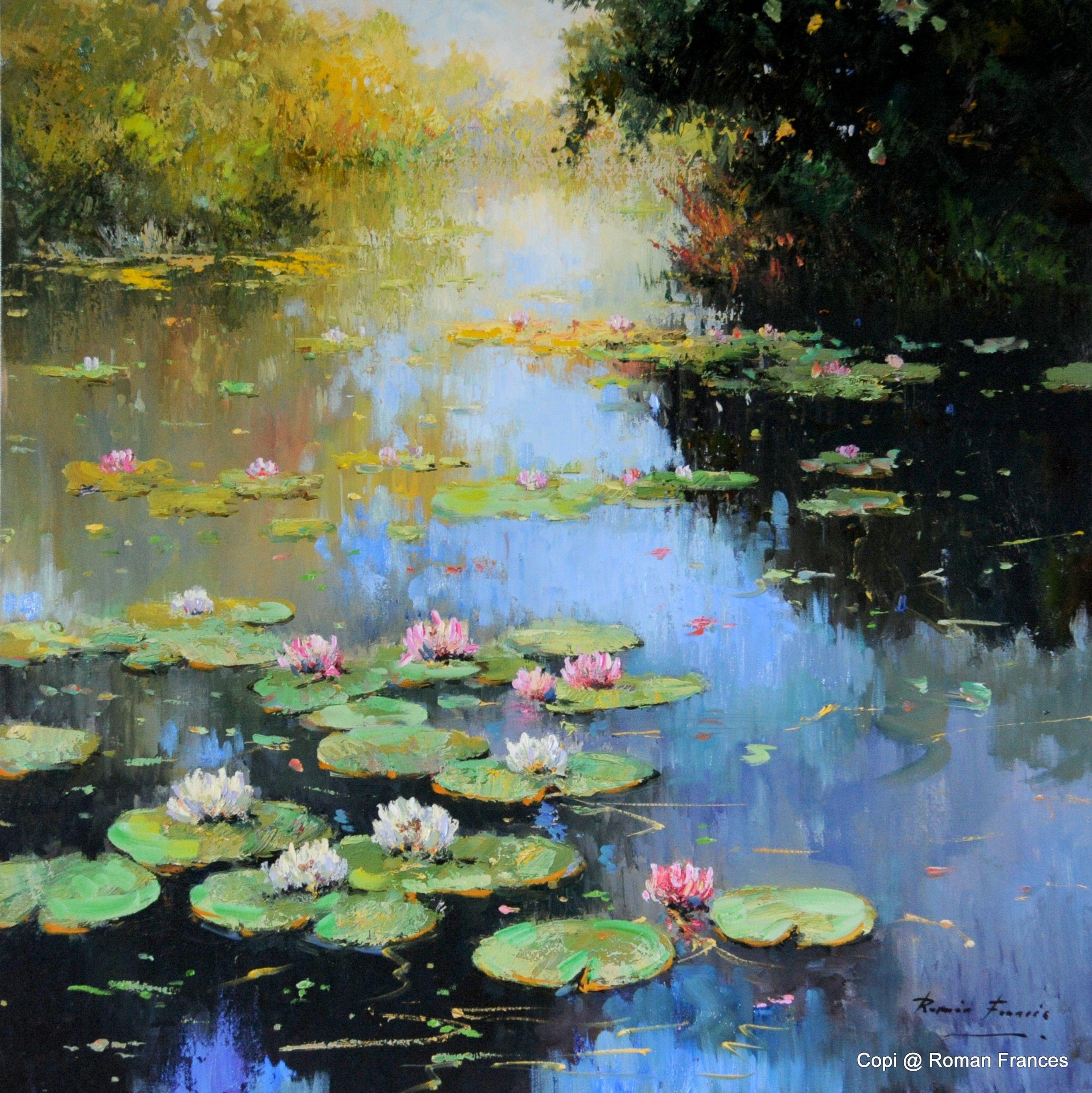 Natures retrait roman frances water lilis pinterest for Pintura para estanques